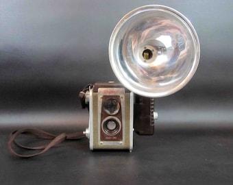 Vintage Kodak Duaflex IV Camera with Flash Unit  / Retro Reflex Camera