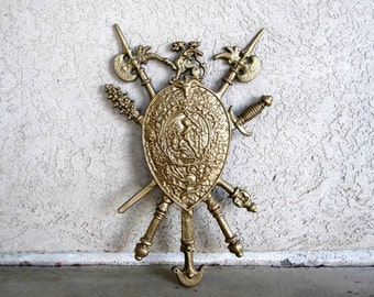 Vintage Mid Century Coat of Arms Wall Hanging. Made in Japan. Circa 1960's.