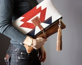 Leather fold over clutch, fold over bag, fold over purse,  wool and tan leather clutch with leather charm