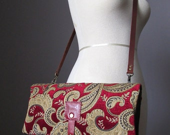 Carpet leather bag, Large Leather foldover clutch, leather bag, tapestry bag,  red clutch, brown clutch tapestry and  leather clutch