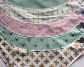Drool Bib Bandana Bibdana Waterproof - You Choose the Fabric Trendy Gold Arrow Crosses Buck Heads