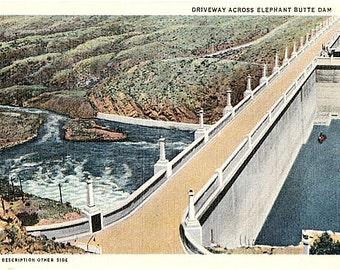 Vintage New Mexico Postcard - Elephant Butte Dam on the Rio Grande River (Unused)