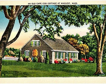 Vintage Cape Cod Postcard - Old Cape Cod Cottage at Waquoit (Unused)