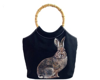 Vegan Skeptical Rabbit bag - handpainted upcycled black canvas and bamboo handled purse, one of a kind, vegan