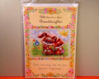 Vintage Birthday Card - Happy Birthday Granddaughter - Cute Design - 1980s