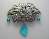 Mermaid Barrette with Crystals ~ Silver Oxidized Finish Mermaid Barrette