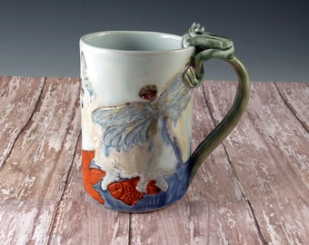 Pottery Cup Waterlily Ceramic Floral Handmade Cup Hand Built Butterflies Frog Dragonfly White Mug - by Botanic2Ceramic - 798