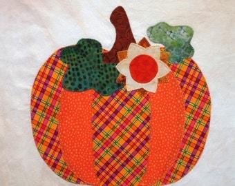 October Pumpkin Appliqued Quilt Block