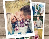 Photo Christmas Card Template: Merry Christmas Script & Swirl Custom Photo Holiday Card Printable, Simple and Modern, Collage, Polaroid