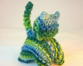 ON SALE Waldorf Knitted Cat, Waldorf Toy, Stuffed Animal, Indigo Blue, Green, Plant Dyed Wool Yarn, Kitty, All Natural Toy