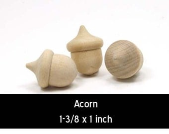 Unfinished Wood Acorn - 1-3/8 inches tall by 1 inch wide wooden shapes (WW-FFA105)