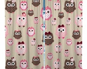 Custom Window Curtain, Pink Brown and Beige Owls - Any Size - Any Colors - Any Pattern