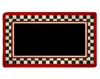 Designer Style Plush Fuzzy Area Rugs - Checkerboard frame accent, black center - red accent