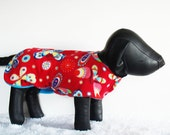Red Fleece Dog Coat, Warm Dog's Coat, Large dogs fleece jacket, Shih Tzu winter jacket, Butterflies fleece pet coat
