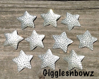 4th of July Embellishments- ReSIN GLiTTER STARS 16mm- Clear Stars- Headband Supplies-Diy Supplies-Scrapbooking Supplies