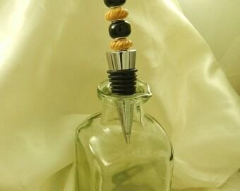 Black Glass and Tan Engraved Beaded Wine Stopper, Birthday, Stocking Stuffer, Silver Metal, Gift, Barware, Utensil, For Her, For Him, Unisex