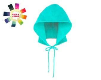 The Hoodie Hat - Fleece Tie Hooded Hat - Pick a Custom Color - Unisex Adult & Kids Sizes
