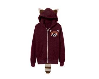 Geo Red Panda Hoodie - Fleece Hooded Zip Sweatshirt with Ears and Tail in Heather Cardinal and Rust Stripe - Unisex Size XS-2XL