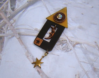 Vintage Hand Made Brooch Whimsical Design Copper Tone and Black Tone Metal Sun Moon and Stars Brooch