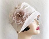 Linen Cloche Cap - Flapper Style Hat -Trendy Hat - Sporty Hat - Beige Linen Hat - Rose Brooch - Spring Cap - Summer Cap - Handmade in USA