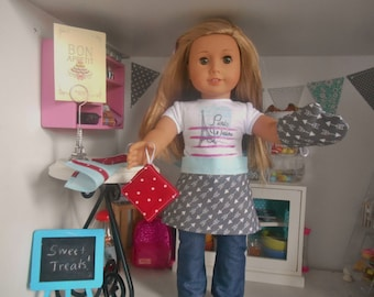 Five Piece Doll Kitchen Set - Mint, Red, and Gray Dots and Arrows