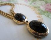 Vintage Gold  Tone Double Chain Black Glass pendant Mondernist
