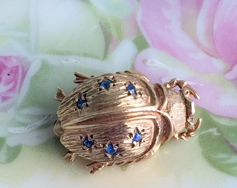 Vintage 14K Yellow gold Beetle Bug Brooch Pin Blue Sapphire Gemstone