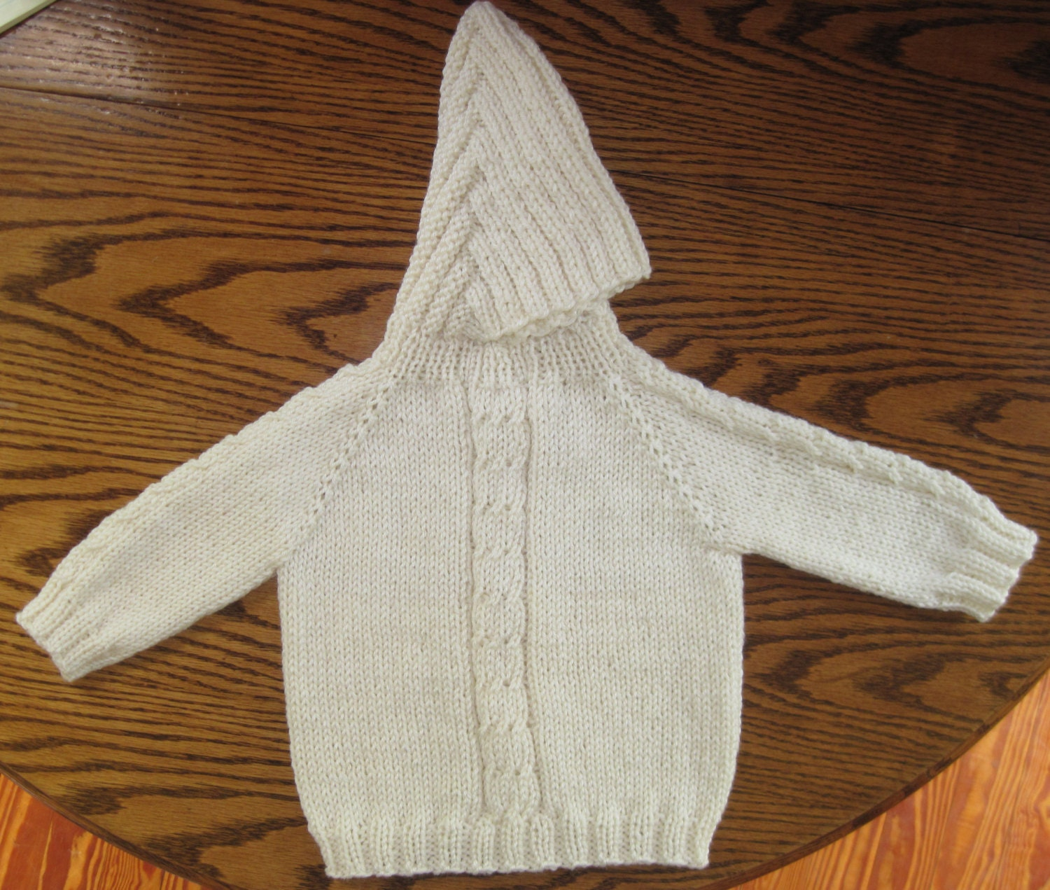 Knitting Pattern Back Zip Baby Sweater : Baby Sweater Hand Knit Hooded Back Zip Hoodie 12 to 18 Months