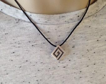 Greek key chocker - black cord  - Greek jewelry - gift for him -