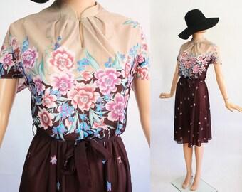 Vintage 70s Sheer Floral Day Dress / 1970s Midi Flower Print Shirtdress / Large