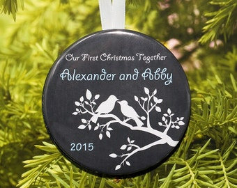 Our First Christmas Together Ornament - Birds Silhouette Charcoal - customized with your names - C122
