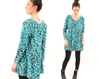 vintage 90s GRUNGE abstract print EXPRESS tunic M-L