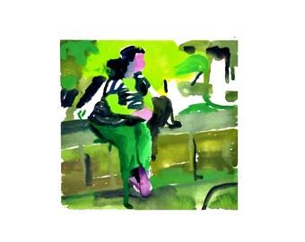 Girl at the park- original watercolor painting