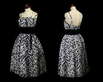 Original Vintage 1980s Tiger Print Cocktail Dress - Medium - FREE SHIPPING WORLDWIDE