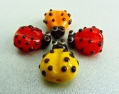 LadyBug Bead x Four - Lampwork Creation - SRA