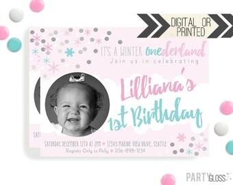 Winter Onederland Invitation | Digital or Printed |  Winter Wonderland Invitation |  Pink Aqua Party Invitation  | Snowflake Invitation