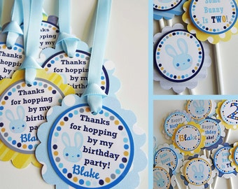 Bunny Birthday Party Favor Tags  and Cupcake Toppers - Fully Assembled Decorations