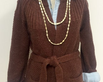 1970s Vintage Cardigan Sweater - Brown Cardigan - Fall Sweater - Back to School - Winter Sweater - Retro Hipster - Collegiate - 38 Bust