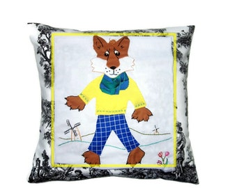 Mr. Fox Cushion Cover or Wall Hanging, Applique and Embroidery, Custom Made Nursery Decor, Foxy Tooth fairy Pillow