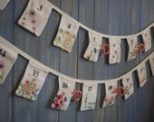 Vintage Advent Calendar. Christmas Advent Bunting. Christmas Decoration. This strand has been made form lovely vintage fabrics.