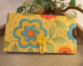 CHECKBOOK Cover with Button and Elastic Closure and Vinyl ID Window