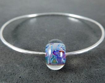Silver Bangle Bracelet, Purple Blue Glass Bracelet, Simple Bracelet Sterling Silver Bracelet, Stacking Lampwork Bracelet, Minimalist Jewelry