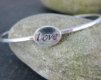 Love Bracelet, Sterling Silver Bangle Bracelet, Friendship Bracelet, Girl Friend Bracelet, Bridesmaid Gift, Wedding Jewelry, Simple Bracelet