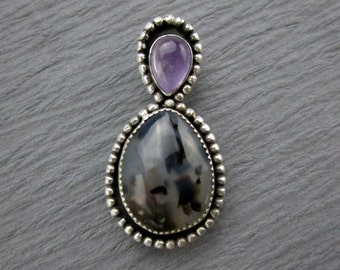 Montana Agate & Amethyst Pendant, Sterling Silver