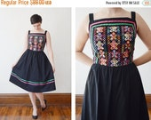 SUMMER CLEARANCE 1980s Black Embroidered Sundress - M  / Dirndl style dress