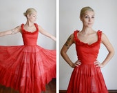 1950s Red Ruffle Dress / Salsa Dancing Dress - XS
