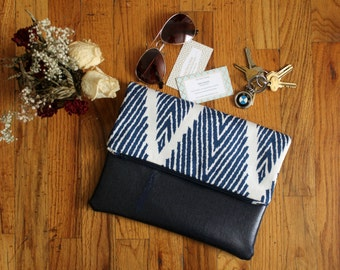 Fold Over Clutch, Blue Fold Over Clutch Purse, Blue Chevron Clutch Purse, Summer Clutch, Bridesmaid Gift, Gift for Her
