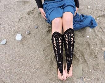 Black knee high crochet barefoot sandals / leggings