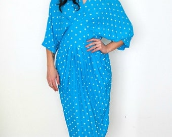 French vintage 1980s blue batwings dress with white polka dots - medium - large - M L