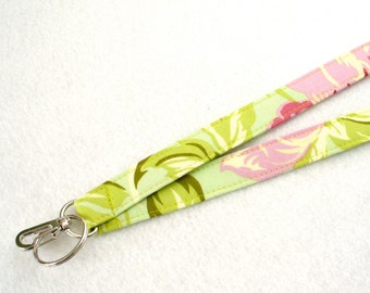 Temple Flowers Retired Amy Butler Fabric Lanyard ID Badge Holder Breakaway Lanyard Key Ring Fob Pink Blossoms on Mint Green
